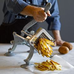 Enjoy crisp, golden restaurant-style French fries, right in your own kitchen – it's easy when you're equipped with Weston's commercial-quality cutter. Great for making traditional or oven-baked fries, this heavy-duty cutter couldn't be si Cool Gadgets To Buy, Cool Kitchen Gadgets, Kitchen Items, Cool Kitchens, Amazing Gadgets, Kitchen Utensils, Kitchen Tools, Cooking Gadgets, Cooking Tools