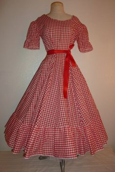 895ef55b9412 1950s/ 60s Party Picnic Red and White Gingham by ScreamingRags, $55.00  Country Girl Dresses