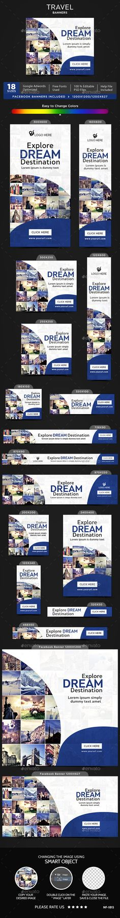 Travel Banners — Photoshop PSD #banners #social media • Available here → https://graphicriver.net/item/travel-banners/20062375?ref=pxcr