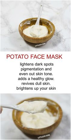 Skin Care Remedies POTATO FACE MASK FOR DARK SPOTS - Dark spots, acne marks, pigmentation etc. can take away your charm and lower your confidence. Dark spots are easy to hide using a concealer/makeup but gettin. Face Scrub Homemade, Homemade Face Masks, Homemade Skin Care, Homemade Beauty, Homemade Things, Homemade Products, Potato Face Mask, Mascarilla Diy, Makeup Tricks