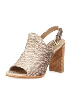 Pipeliner Snake-Print Sandal, Taupe by Stuart Weitzman at Neiman Marcus.