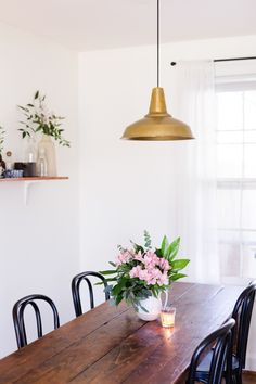 A Tiny and Charming Cottage in Nashville, TN | Design*Sponge | Brass Factory Modern No. 4 pendant by Schoolhouse Electric