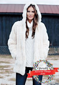 Ivory Mink Couture Hooded Faux Fur Jacket