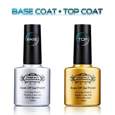 Perfect Summer Clear Gel Base Coat and Top Coat Perfect Match Gel Nail Polish Pack of 2 10ml Each  METHOD OF USE    1.Gently buffer your nail surface so they're not shiny and smooth.  2.Apply base coat – cure with LED or UV nail dryer lamp.  3.Apply 1st thin coat of polish – cure.  4.Apply 2nd thin coat of polish – cure.  –Apply 3rd coat if necessary.  5.Apply top coat – cure.  6.Wipe nails with rubbing alcohol(cleanser) to remove residue.  –Curing time: UV light for 2 mins, LED lig..