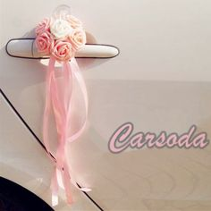 Wedding Car Decoration- Pink Heart Shape Roses for Limousine Door Side - Carsoda - 1