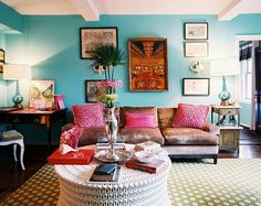 Angele Perlange Lonny Mag turquoise blue & hot pink eclectic living room design with turquoise walls, green geometric rug, brown velvet sofa, magenta pink pillows Colourful Living Room, Eclectic Living Room, My Living Room, Living Room Designs, Living Spaces, Small Living, Cozy Living, Living Area, Aqua Walls