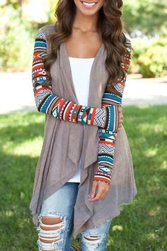 Vintage Printed Long Sleeve Irregular Cardigan For Women