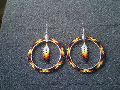 Native+American+Handmade+Beaded+Feather+Hoops+by+taaneszhani,+$25.00