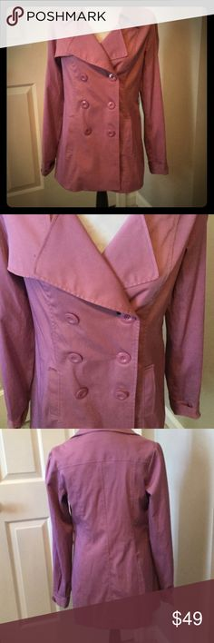 """Stylish Lavender Trenchcoat Brand Vertigo. Size S. Polyester/cotton/spandex. Lined. Dry Clean only. Features big buttons and pockets. Double breasted. No belt. Bust measures 18.5"""" laying flat. Length 28"""". Gently used. Smoke free home. Vertigo Paris Jackets & Coats"""