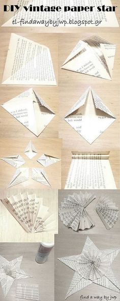 DIY Vintage Christmas Paper Ornaments - Scrapbooking papers, or old magazines, or some, completely useless or destroyed books, glue and small decorative objects…