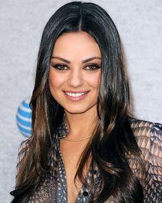 Dark brown hair with 2 shades lighter highlights