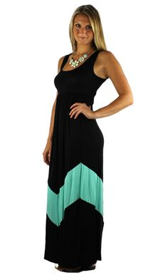 BLACK MINT GREEN STRIPED CHEVRON COLOR BLOCK BOHO LONG MAXI TANK DRESS S M L #WearItLikeADiva #Maxi