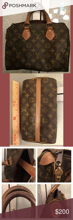 Louis Vuitton Louis Vuitton French Luggage Company Speedy. Please look closely at photos, this is a vintage bag, it's not perfect, but it does look good. Piping is intact, but there is some wear, handles & hardware have ware. There is some loose stitching at end of zipper, but no holes, monogrammed canvas looks good. Still a cute bag for summer, priced low because of flaws. No 80-100$ offers, my price is close to firm!! Louis Vuitton Bags Satchels