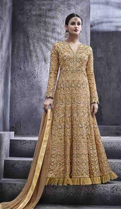 #Golden #Emblished #Royal #Anarkali #Suit