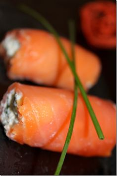 smoked salmon stuffed with ricotta, dill, capers, and chives (or use cream cheese instead of ricotta)