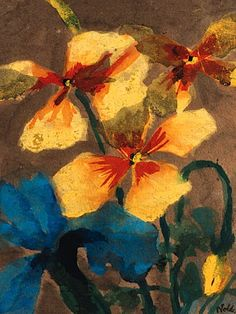 Emil Nolde (German, 1867-1956), Gelbe und blaue Amaryllis [Yellow and blue amaryllis].