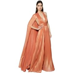 Elie Saab Women Plisse Georgette Lamé Gown W/ Cape ($2,800) ❤ liked on Polyvore featuring dresses, gowns, orange, red dress, red evening gowns, red halter gown, elie saab gowns and halter gown