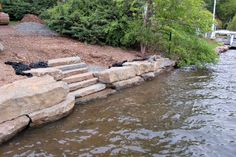 Kearney Stone steps can provide unmatched beauty to your home and landscape. Braen Supply is one of the largest suppliers of Kearney Stone steps in NJ & NY. Lake Landscaping, Landscaping Retaining Walls, Landscaping Ideas, Lake Dock, Lake Beach, House Landscape, Beach Landscape, Landscape Design, Garden Design