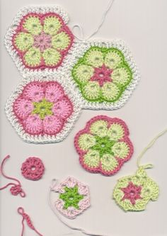 African flower crochet tutorial - good for hexies or granny squares