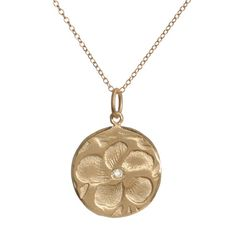 "Violet Gold Necklace - Amalia Collection by Page Sargisson - Fine Jewelry, Hand carved in Brooklyn - Violet Flower  Necklace, 10KT Gold with one diamond or in sterling silver. Disc is .75"" in diameter. Comes on 15"" delicate 10KT chain. A fabulous gift for yourself or a friend!"