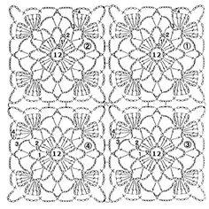 Crochet Motif Patterns, Granny Square Crochet Pattern, Crochet Diagram, Crochet Chart, Crochet Squares, Crochet Designs, Knitting Patterns, Crochet Tablecloth, Crochet Doilies