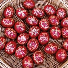 Traditional Hungarian Easter eggs, hand-paited using hot wax and natural dye