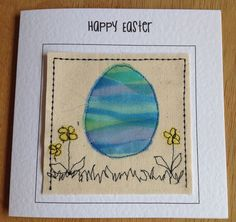 Hand made Easter card. Textile Easter card. Easter egg card. Can be personalised with your words at the top of the card. by FiddlethreadStudio on Etsy