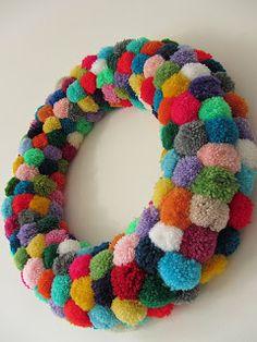 Colorful Pom Pom Wreath.