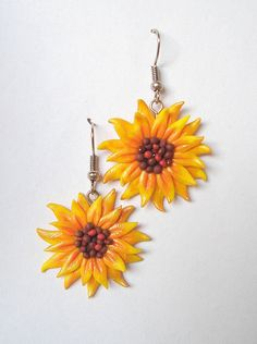 Sunny Sunflower Polymer Clay Fimo Earrings by NiyArt on Etsy, $9.00