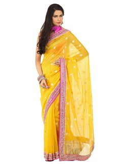 Yellow chanderi silk double blouse saree - Not loving the blouse piece
