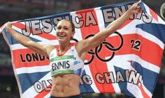 Jessica Ennis celebrates winning the heptathlon, London 2012