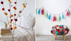 Banco de pompom Bohemian, Crochet, Vertical Gardens, Home Furnishings, Bench Seat, Pom Poms, Fiestas, Diy, Weddings