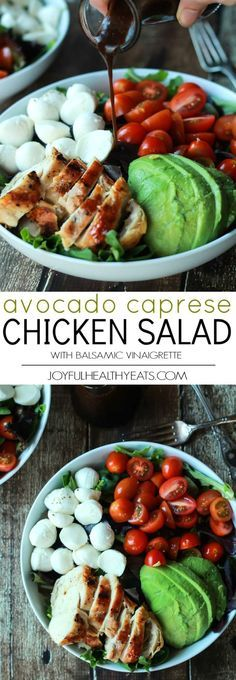 A Quick Easy Dinner for two, Avocado Caprese Chicken Salad topped with a light Balsamic Vinaigrette. The perfect Salad recipe for summer that only takes 15 minutes! | joyfulhealthyeats.com #recipe