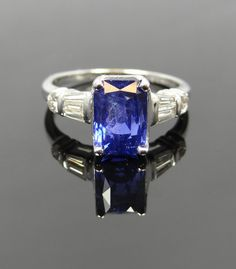 Beautiful Diamond and Emerald Cut Ceylon Sapphire by MSJewelers, $7415.00