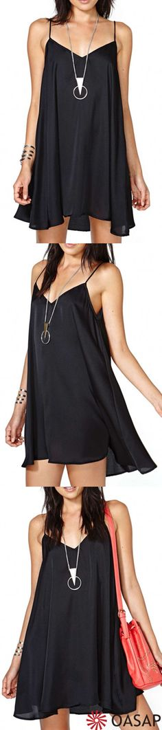 Wanna look 5 years younger? here is how. Sexy Black Mini Cami Swing Dress