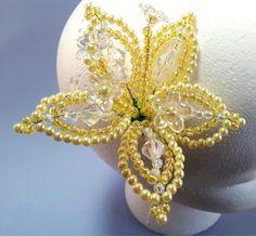 Hair Pin Hair Jewelry Yellow Flower Hair Pin by QueXopaPanama