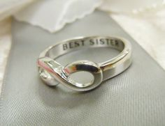 """FREE SHIPPING  size 7 1/2  """"Best Sister""""   Gift infinity sister  ring  avaible in all sizes hand engraved best gift for sister"""