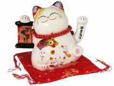 Waving Electric Five Fortunes Maneki Neko Lucky Cat Display Figurine