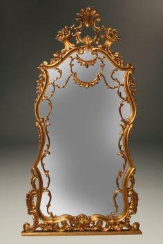 Gilded Italian Rococco style over mantle mirror, circa 1900. #antique #mirror