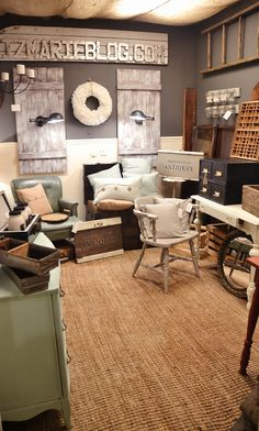Lovely rustic antique booth in a vintage marketplace. Great before & after!