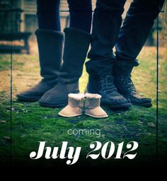cute baby announcement idea! But with cowboy boots instead!!