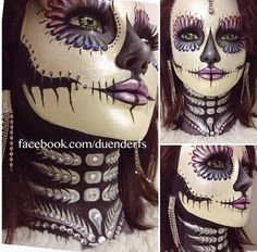 Day of the dead makeup sugar skull makeup halloween makeup. holy crap this is awesome!
