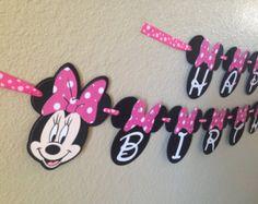 Minnie Mouse parte bandera bandera de nombre por CuddleBuggParties