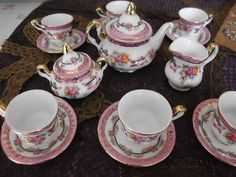 French Limoges Vintage Miniature Tea Set for Doll or Child