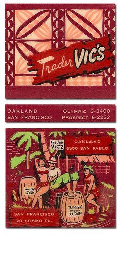 Vintage matchbook cover for Trader Vic's, Cosmo, Florida Vintage Tiki, Vintage Labels, Vintage Ads, Vintage Posters, Surf, Tiki Art, Tiki Tiki, Tiki Decor, Tiki Lounge