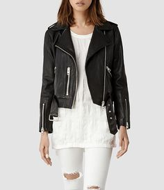Wardrobe staple: black leather biker jacket #layeredny Womens Balfern Leather Biker Jacket (Black) | ALLSAINTS.com