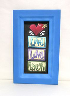 Laugh, Live, and Love Sign with Red Heart, Folk Art Sign, Hand or Tole Painted, Framed in Reclaimed Wood Frame, Valentine's Day Sign - pinned by pin4etsy.com