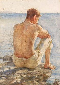 Portrait of Charlie Mitchell by Henry Scott Tuke, (1858-1929)
