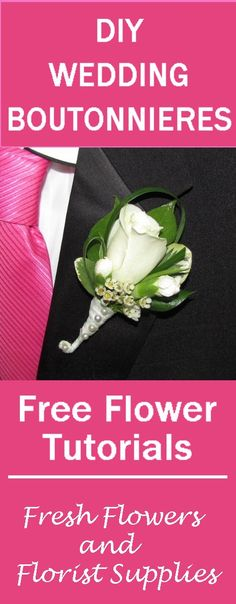 White Rose Boutonniere - Free Wedding Flower Tutorials  Learn how to make bridal bouquets, corsages, boutonnieres, table centerpieces and church wedding decorations.  Buy wholesale flowers and discount florist supplies.