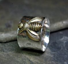 Bee Ring Wide Band Sterling Silver - Queen of Bees   ...from Lavender Cottage Jewelry